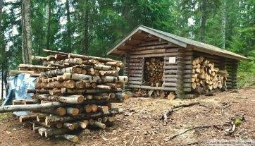 Parque nacional de Isojarvi. Cabaña de leña Kuorejärvi